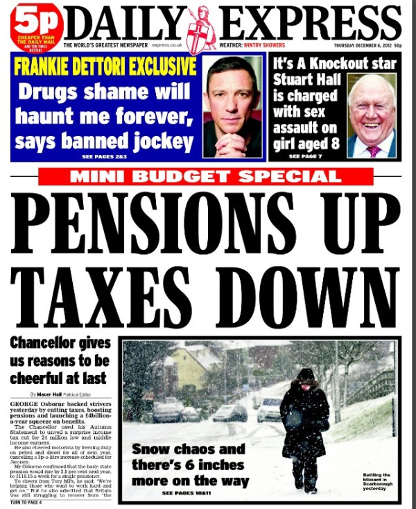 ax Papers react to George Osbornes Autumn Statement