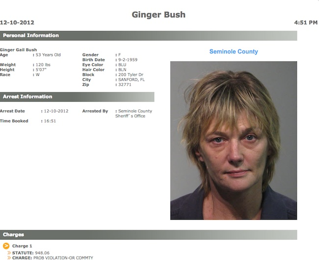 ginger bush Mug shot of the day: Ginger Bush