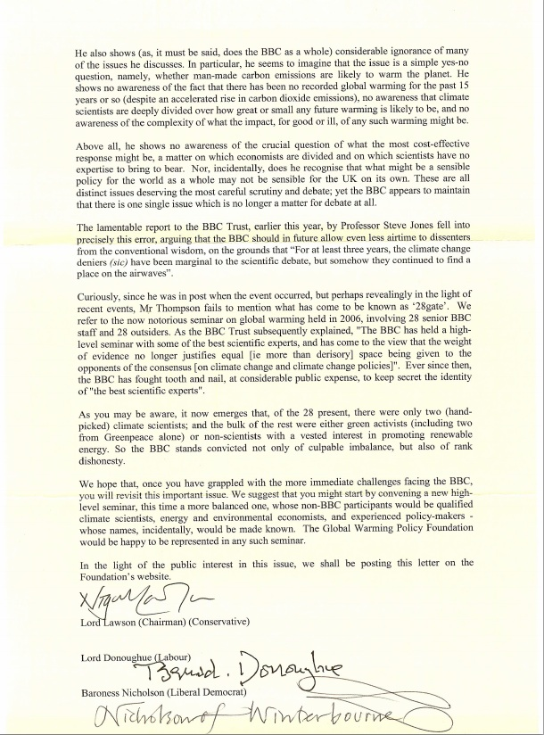 global warming policy foundation 1 That Global Warming Policy Foundation letter to the BBC: the notorious seminar of 2006