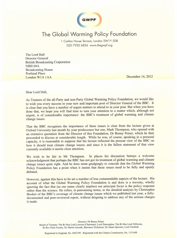 global warming policy foundation That Global Warming Policy Foundation letter to the BBC: the notorious seminar of 2006