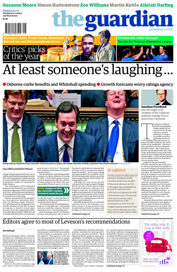 guardian Papers react to George Osbornes Autumn Statement