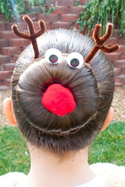 hair bun Christmas holiday hairstyle of the season: the Rudolph bun