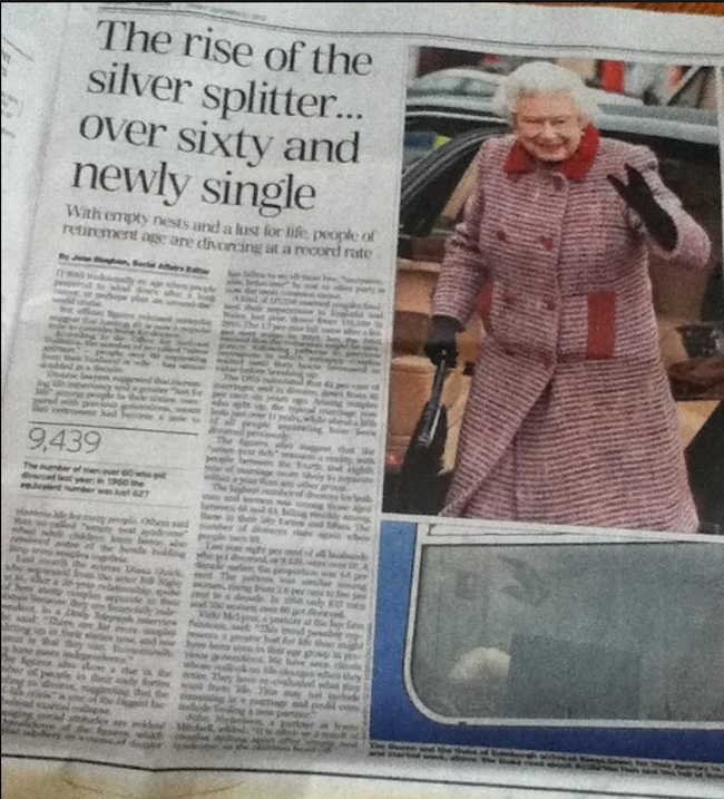 juxtaposition queen Juxtaposition of the day: is the Queen leaving Prince Philip?