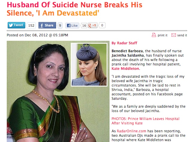 kate middleton nurse Kate Middleton pregnancy watch: Did the Duchess of Cambridge kill Jacintha Saldanha?