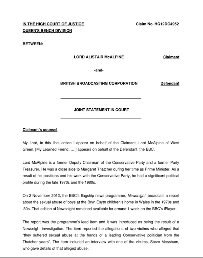 lord mcalpine bbc Lord McAlpine, a huge poo and his court statement against the BBC