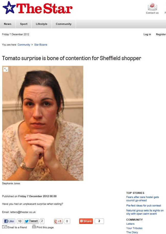 sheffield tomato Local News: The Sheffield Star finds a tomato surprising