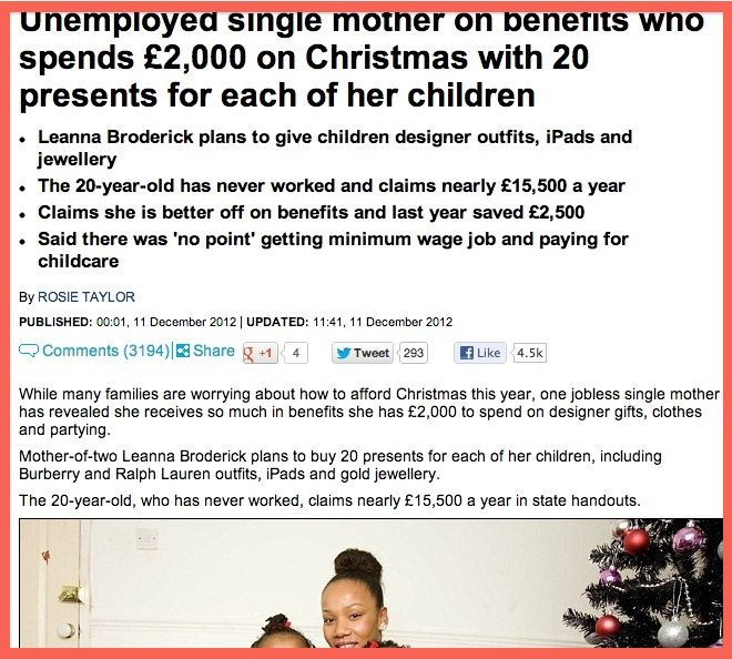 single mum Daily Mail monsters frugal, black, single mother from an estate in Croydon 