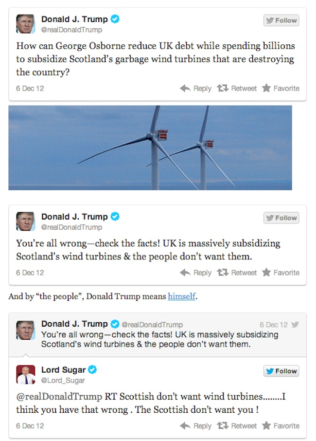 trump v sugar  Lord Sugar V Donald Trump is Twitter fight of 2012