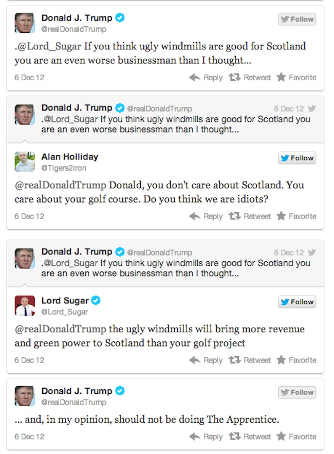 trump v sugar 1 Lord Sugar V Donald Trump is Twitter fight of 2012