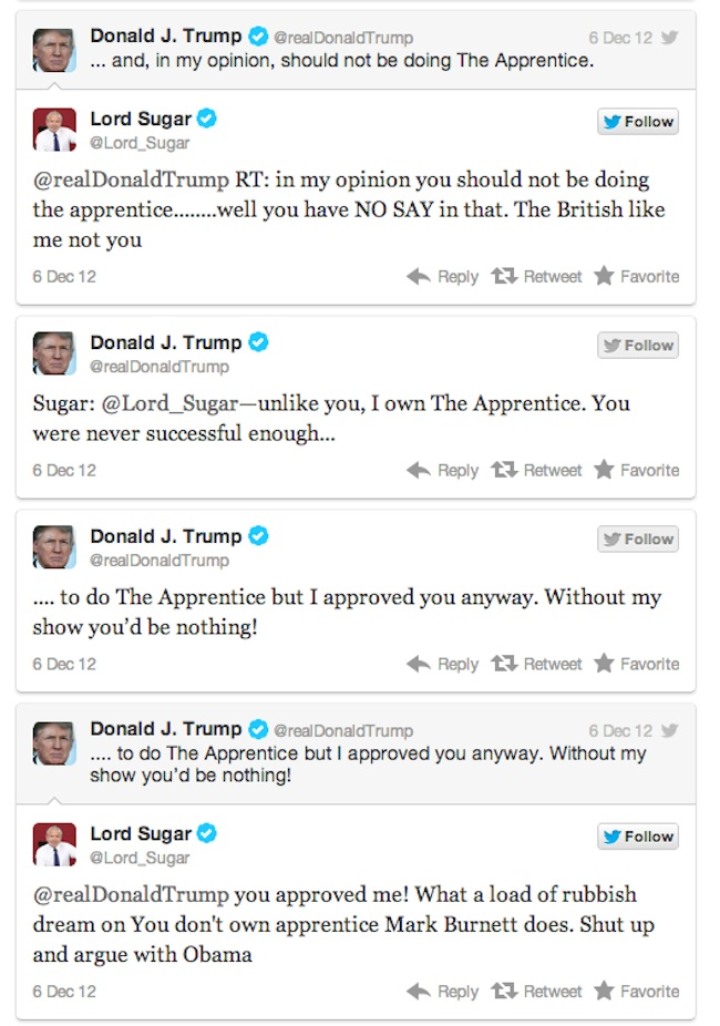 trump v sugar 2 Lord Sugar V Donald Trump is Twitter fight of 2012