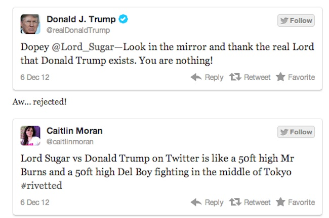 trump v sugar 4 Lord Sugar V Donald Trump is Twitter fight of 2012