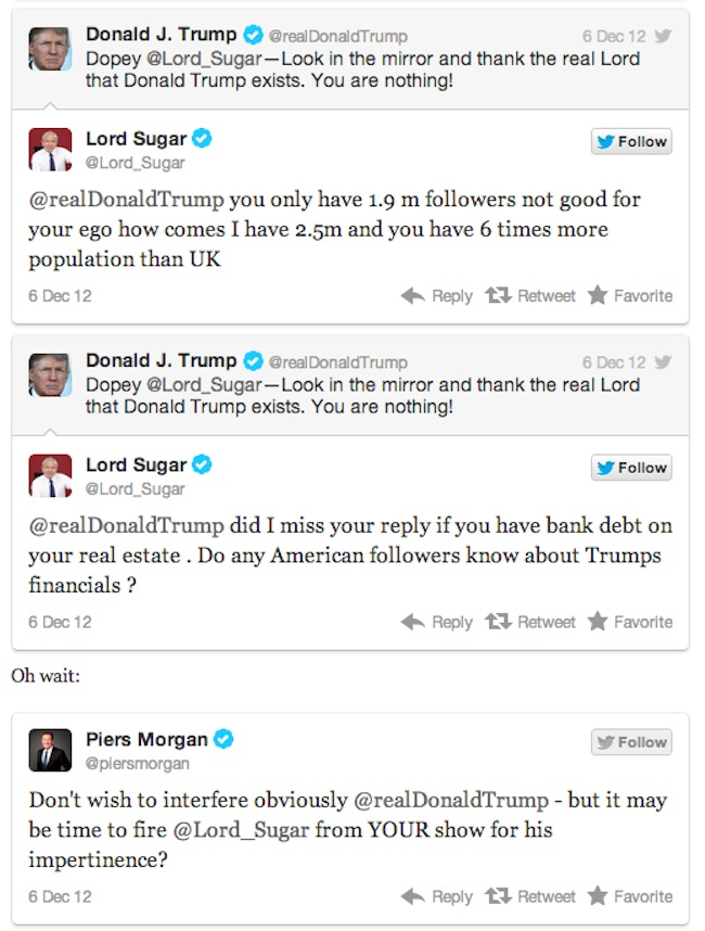 trump v sugar 5 Lord Sugar V Donald Trump is Twitter fight of 2012