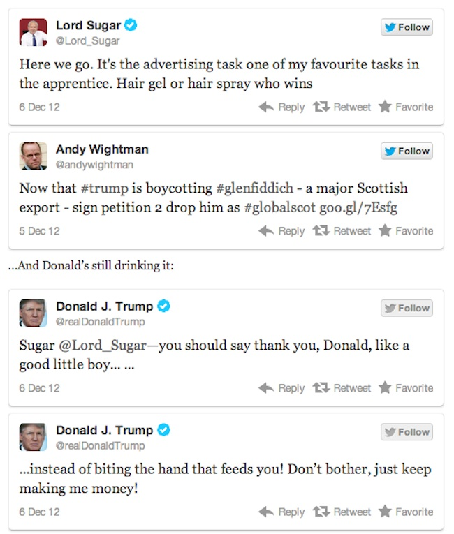 trump v sugar 7 Lord Sugar V Donald Trump is Twitter fight of 2012