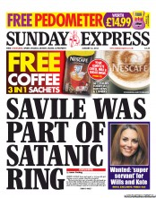 Daily Express Weekend newspaper front page On Satan and Jimmy Saviles porn ring