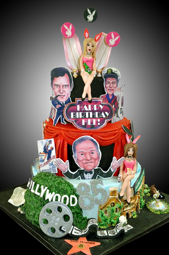 HEFCAKEFINAL. Hugh Hefner in birthday cakes: the sponge and Viagra icing photos