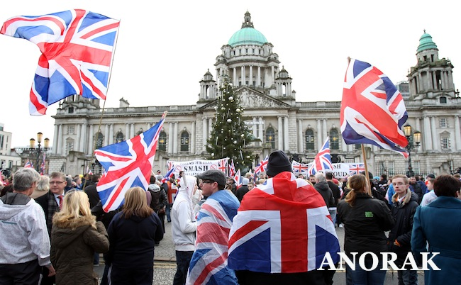 PA 15471037 Unionists flag behind anti abortion and gays: more Belfast City hall trouble (photos)