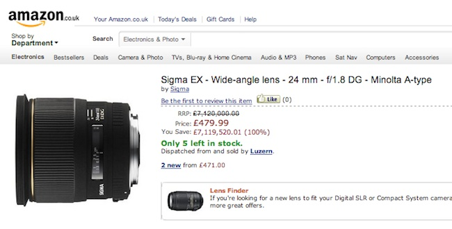 Sigma EX Wide angle lens  Bargain of the year: save 7,119,520.01 on camera equipment