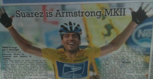 Suarez Armstrong Lance Armstong is Liverpools Luis Suarez but not Gareth Bale nor any other noble Briton