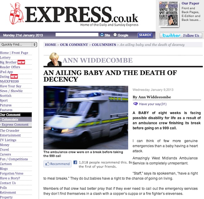 daily express bullshit Richard Madeley and Ann Widdecombe use ill baby to abuse paramedics