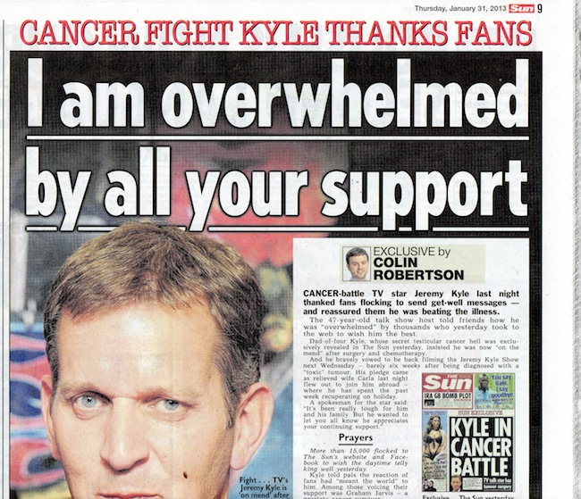 jeremy kyle cancer Dermot OLeary and the Suns Ally Ross look for Jeremy Kyles cancer in karma and Hell