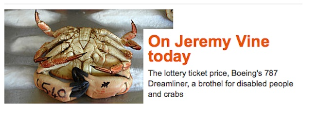 jeremy vine Jeremy Vine has a brothel for disabled people and crabs