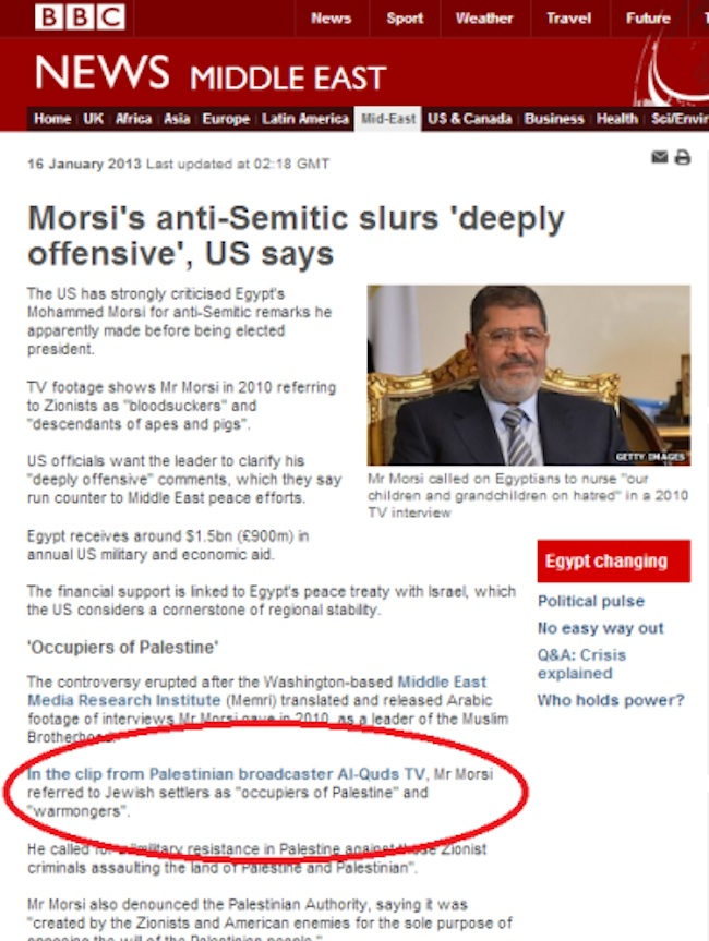 morsi article Moderate Mohamed Morsi calls Jews apes and pigs 