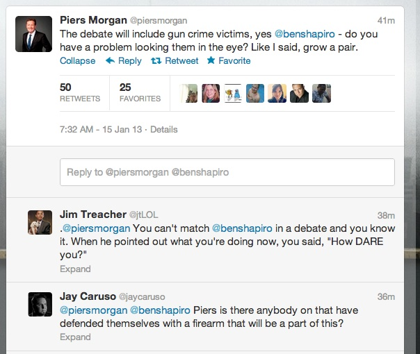 piers shapiro 2 Gun debate madness: Piers Morgans dead children take on Ben Shapiros Holocaust victims