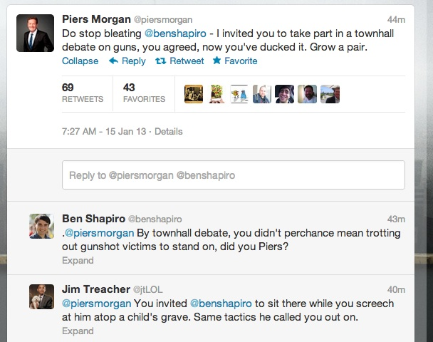 piersshapiro1 Gun debate madness: Piers Morgans dead children take on Ben Shapiros Holocaust victims