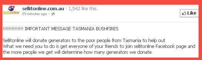 sellitonline facebook Sellitonline attempts to profit on Facebook from Tasmania bushfires