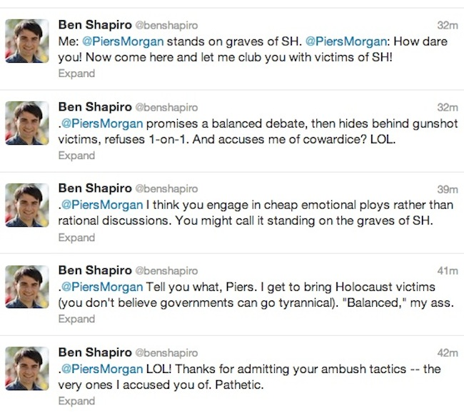 shapiro31 Gun debate madness: Piers Morgans dead children take on Ben Shapiros Holocaust victims