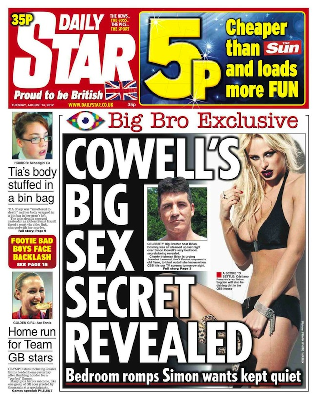 star cowell sex1 Simon Cowells sex secrets remain secret on Celebrity Big Brother 