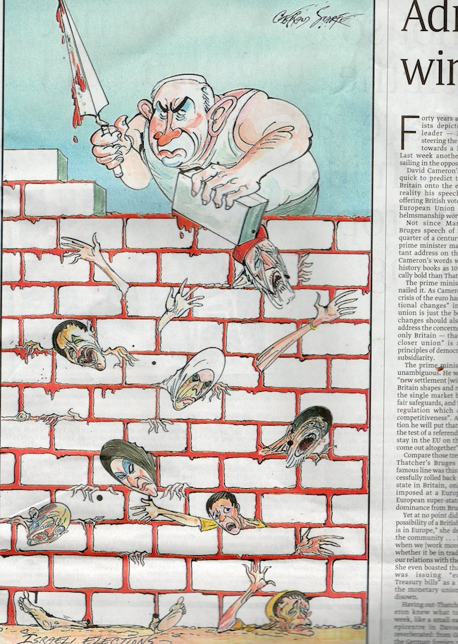 sunday times jews Sunday Times cartoon shows bloodstained Netanyahu burying Obama in his wall of death