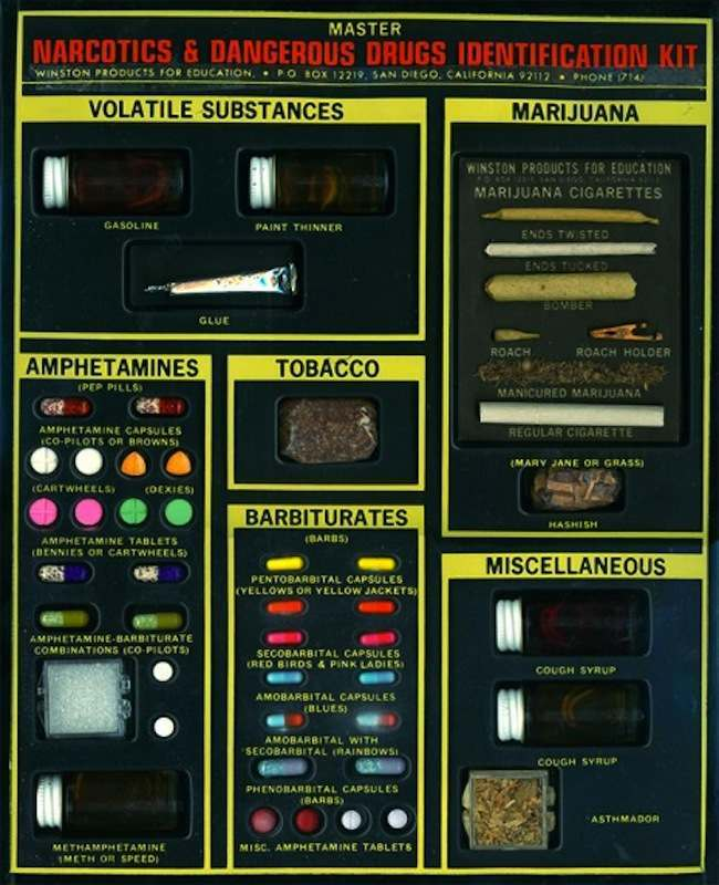 1960s id drugs kit The 1960s Narcotics & Dangerous Drugs Identification Kit