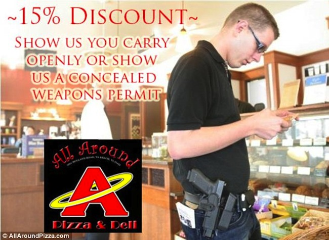 All Around Pizzas Cheap pizza in America if you order it with a gun