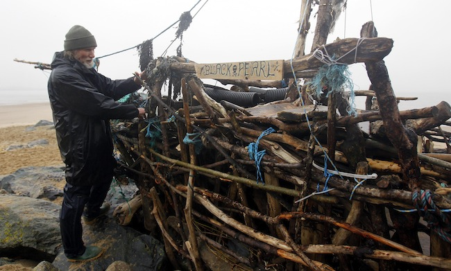 PA 15749329 Frank Lunds New Brighton pirate ship made from Mersey driftwood and other washed up stuff (photos)