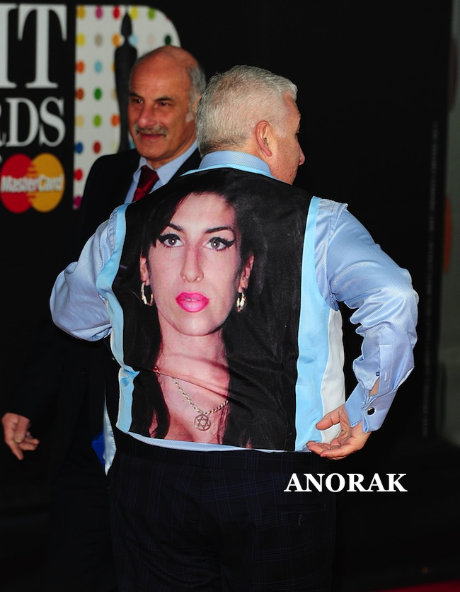 PA 15855886 1 Mitch Winehouse wears Amy Winehouse as a waistcoat at the Brits
