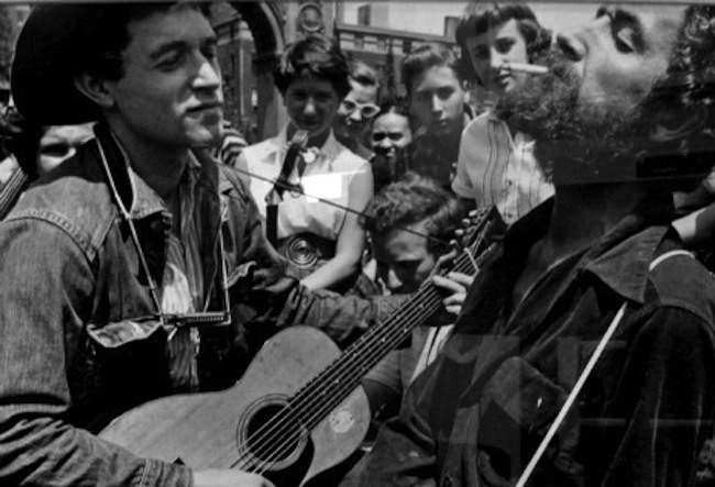 Woody Guthrie 2 1954: Woody Guthrie pictured in  New York City's Washington Square Park