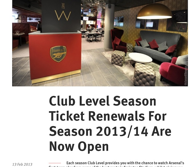 arsenal season ticket