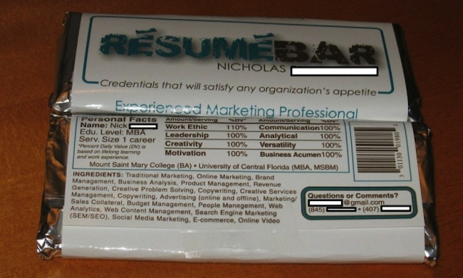 chocolate CV The sweetest CV in the world is printed on a Nestl Crunch bar