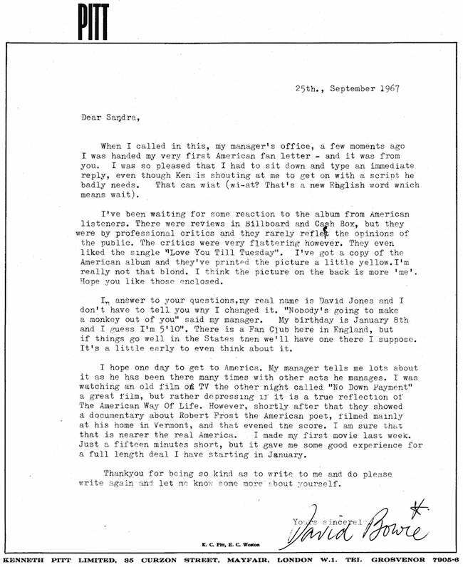 david bowie letter to a fan David Bowies 1967 letter to his first American fan