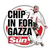 help for gazza Chip in For Gaza: The cynical Sun hijacks England and Paul Gascoigne 