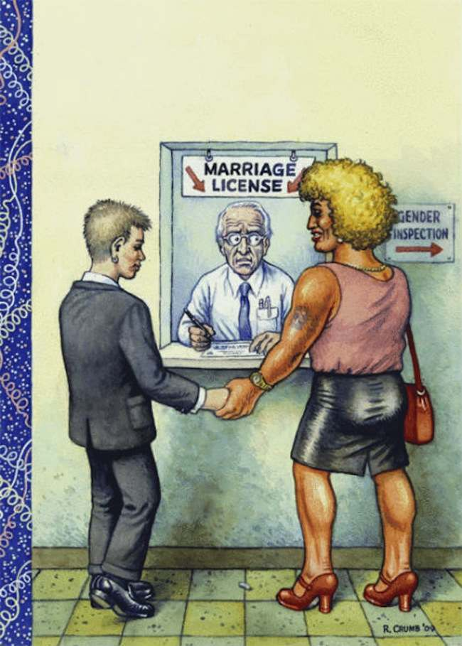 robert crumb new yorker Robert Crumb: the same sex marriage cover art the New Yorker rejected