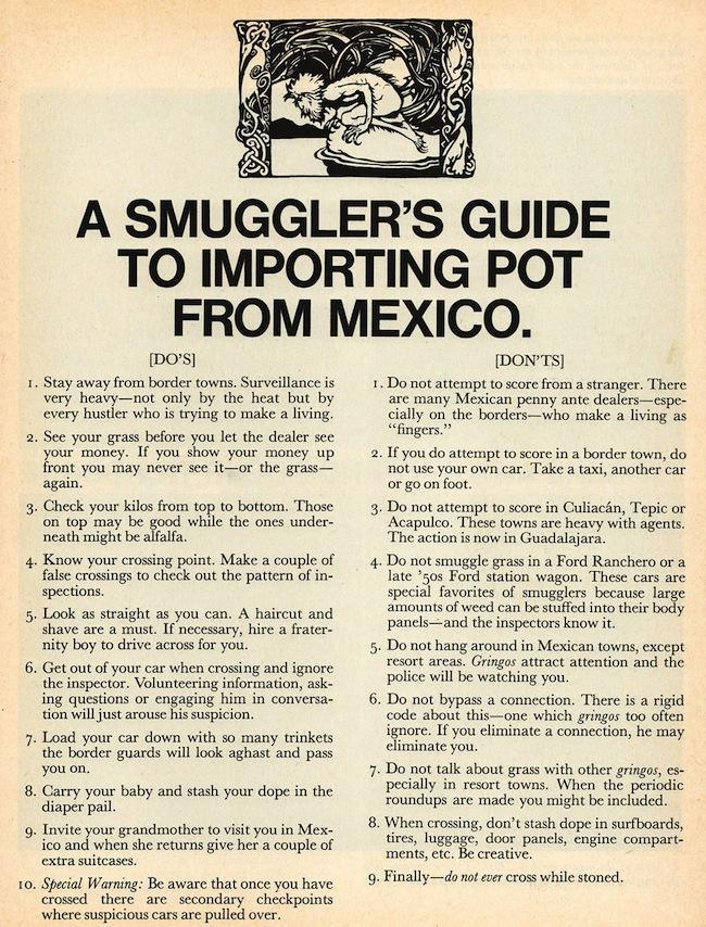 smuggler pot mexico August 1970   A Smugglers Guide to Importing Pot from Mexico (Scanlans magazine)