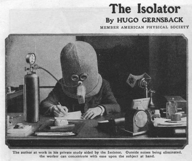 the isolator 1925: the Isolator helmet by Hugo Gernsback