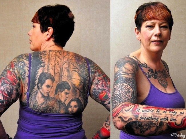 twilight Woman covers body in Twilight tattoos: cant see the trees for the wooden actors 