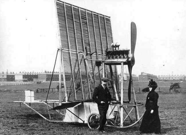 """1911- An early single-framed 'multiplane' aircraft, built after designs by Horatio Phillips."""