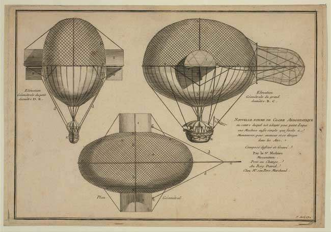 """Design drawing shows front and side elevations and plan of balloon with devices designed to facilitate navigation and maneuverability while in the air. 1784"""