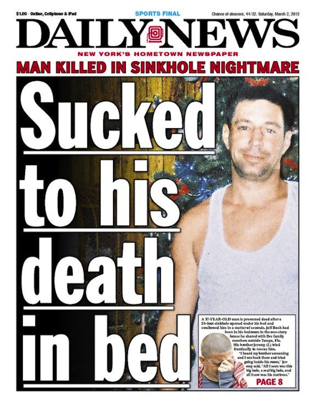 How did the new york daily news report that jeff bush most likely died