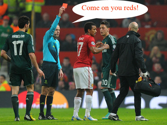 PA 15979562 Man United fan calls 999 after Nani sending off (Arsenal fans might laugh)