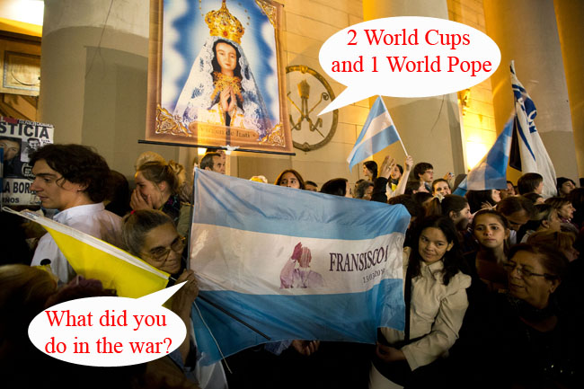 PA 16037841 Pope Francis says the Falkland Islands belong to Argentina: Vatican Army muster against British?